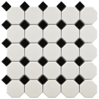 Somertile 11.625x11.625-in Victorian Octagon 2-in Matte White with Glossy Black Dot Porcelain Tiles (Case of 10)