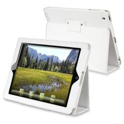 White Leather Case with Stand for Apple iPad 2