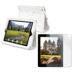 2-piece White Leather Case with Stand and Screen Protector for Apple iPad 2