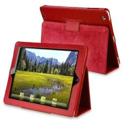 Red Synthetic-leather Heavy-duty Case with Stand for Apple iPad 2