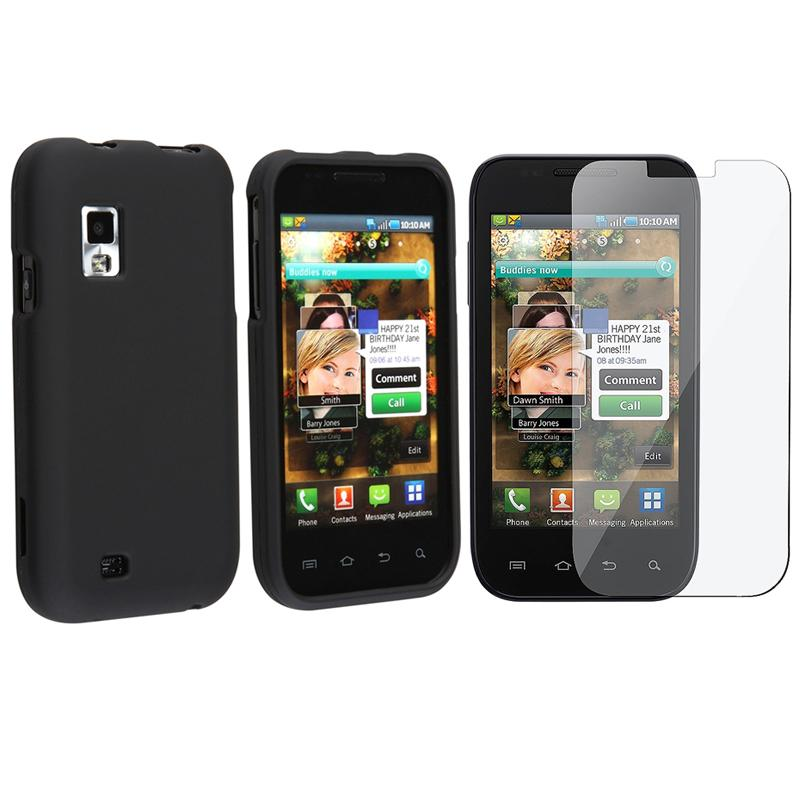 2-piece Black Snap-on Case and LCD Screen Protector for Samsung Fascinate