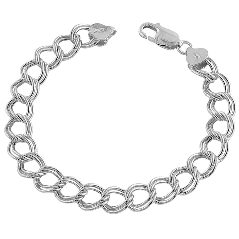 fremada 14k white gold 7 3 mm classic flat charm bracelet