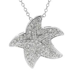 Journee Collection Silvertone Pave-set CZ Starfish Necklace