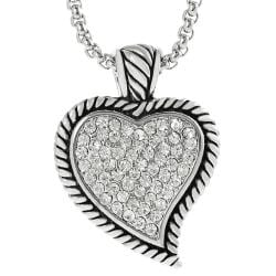 Journee Collection Silvertone Pave-set CZ Heart Necklace