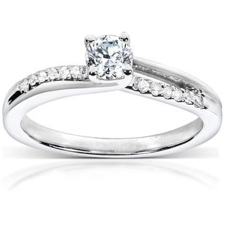 Annello 14k White Gold 1/3ct TDW Diamond Engagement Ring (H-I, I1-I2)