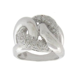 Finesque Silvertone Diamond Accent Chain Link Ring