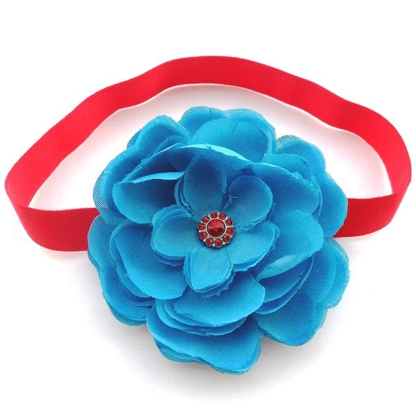 Turquoise and Red Boutique Flower Headband