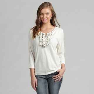 Monterey Bay Ivory 3/4-sleeve Front-ruffle Top with Black Accents