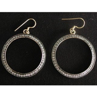 14k Gold over Silver Cubic Zirconia Dangling Hoop Earrings (India)