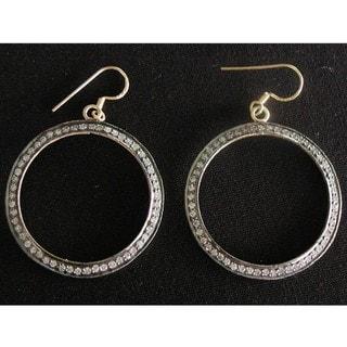 14k Gold over Silver Cubic Zirconia Dangling Hoop Earrings (India)