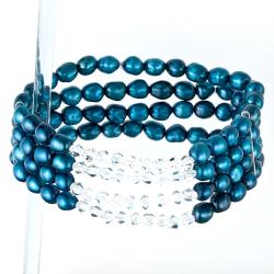Pearlyta Blue Freshwater Pearl 4-row Stretch Bracelet (5-6 mm)