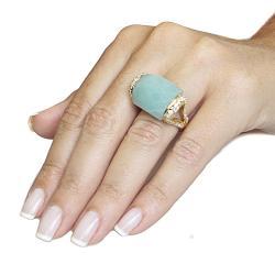 Adee Waiss 18k Gold Overlay Aqua Jade and Cubic Zirconia Ring