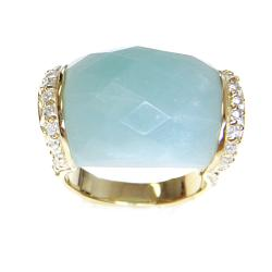 Adee Waiss 18k Gold Overlay Aqua Jade and Cubic Zirconia Ring