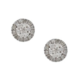 Sterling Silver 1/3ct TDW Pave Diamond Earrings (G-H, I1-I2)