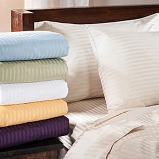Luxor Treasures Egyptian Cotton 400 Thread Count Deep Pocket Stripe Sheet Set Twin XL in Light Blue (As Is Item)