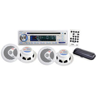 Pyle Complete Marine Water Proof 4 Speaker CD/USB/Mp3/Combo w/ Stereo Cover - White (Refurbished)
