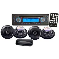 Pyle Black Waterproof 4-speaker Marine Stereo System (Refurbished)