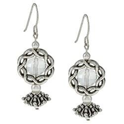 MSDjCASANOVA Silverplated Pewter Crystal Earrings