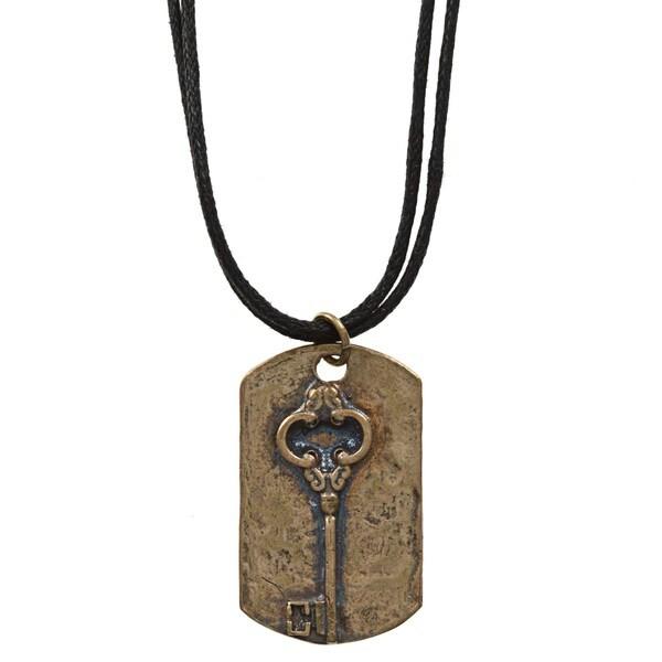 MSDjCASANOVA Brass Key Dog Tag Necklace