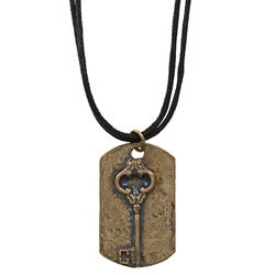 Brass Key Dog Tag Necklace