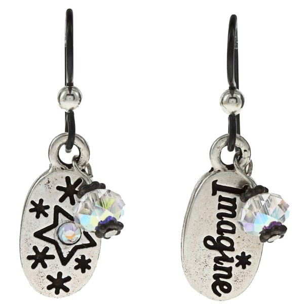 Tierracast Pewter Imagine Charm Crystal Earrings