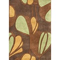 Alliyah Handmade New Zeeland Blend Brown Floral Wool Rug (5' x 8')