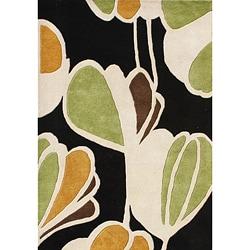 Alliyah Handmade New Zeeland Blend Black Floral Wool Rug (5' x 8')