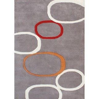 Hand-tufted Horizon Metro Circles Grey Wool Rug (8' x 10')