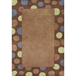 Hand-tufted Circles Brown Wool Rug (5' x 8')