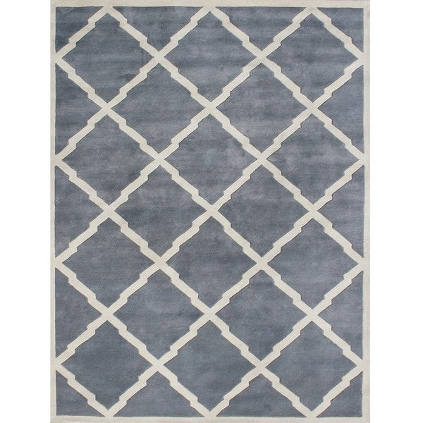 Alliyah Handmade Bluish-Grey New Zealand Blend Wool Rug (9' x 12')