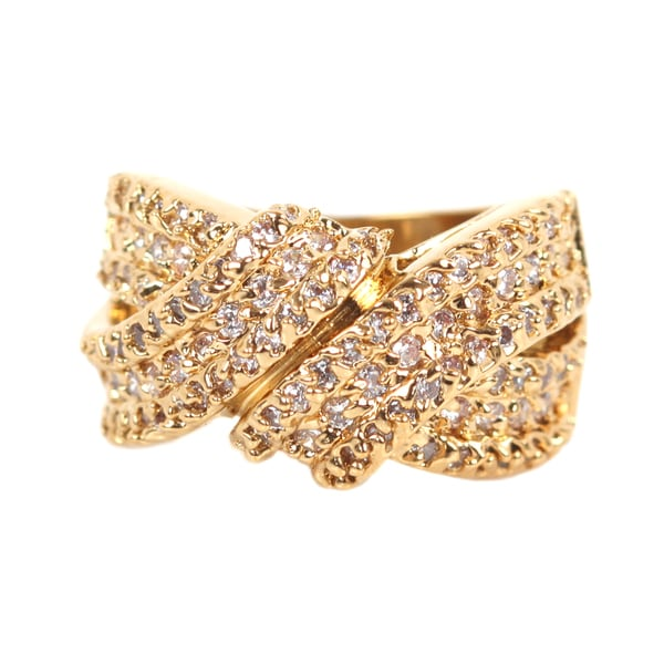 NEXTE Jewelry 14k Gold Overlay Clear Cubic Zirconia Cluster Wrap-style Ring