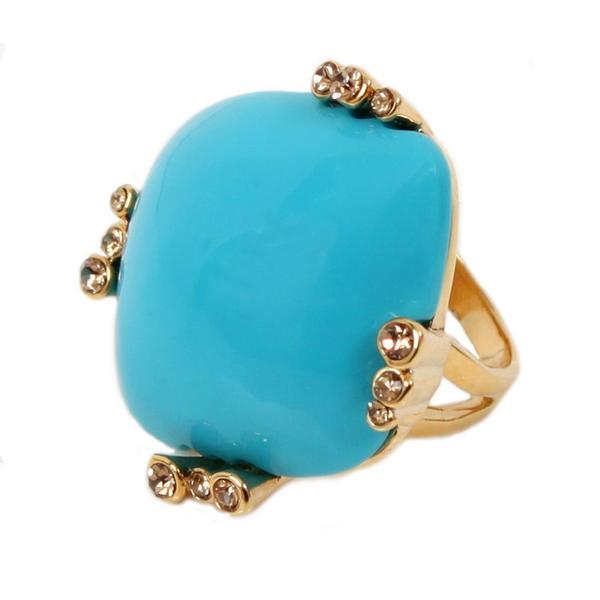 Nexte Jewelry 14k Gold Overlay Lucite and Rhinestone Ring