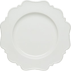 Red Vanilla Pinpoint White Dinner Plates (Set of 6)