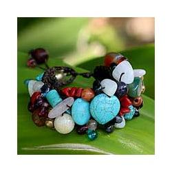 Brass 'Festive Heart' Multi-gemstone Beaded Bracelet (Thailand)
