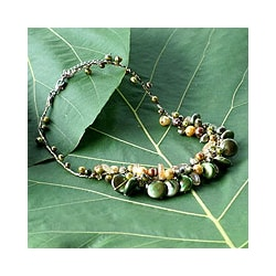 Stainless Steel 'Leaf Doctrine' Pearl Necklace (3-10 mm) (Thailand)