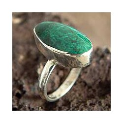 Sterling Silver 'Legacy' Chrysocolla Solitaire Ring (Peru)