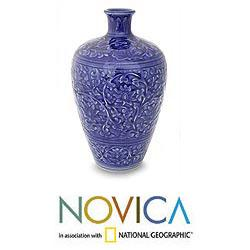 Handcrafted Celadon Ceramic 'Azure Lace' Vase (Thailand)