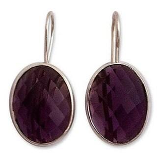 Handmade Sterling Silver 'Love Song' Amethyst Earrings (India) 8209304