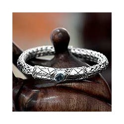Men's Sterling Silver 'Meditate' Blue Topaz Bracelet (Indonesia)