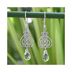 Sterling Silver 'Celebrate Love' Prasiolite Heart Earrings (Thailand)