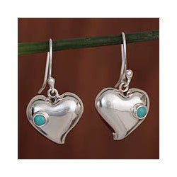 Silver 'Love's Glow' Turquoise Heart Earrings (Mexico)
