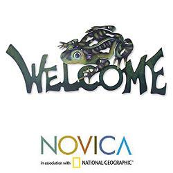 Handcrafted Steel 'Frog Prince' Welcome Sign (Mexico)