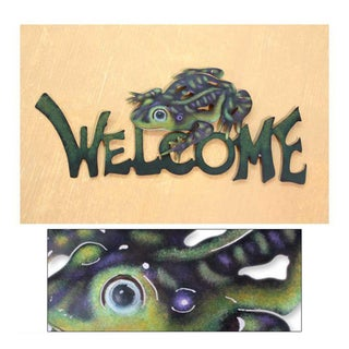 Handmade Steel 'Frog Prince' Welcome Sign (Mexico)