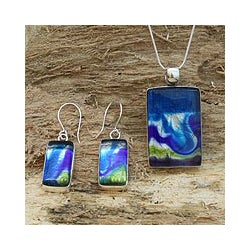 Sterling Silver 'Marine Inspiration' Art Glass Jewelry Set (Mexico)