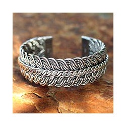 Sterling Silver 'Ebb and Flow' Cuff Bracelet (Thailand)
