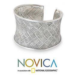 Silver 'Weaving Dreams' Cuff Bracelet (Thailand)