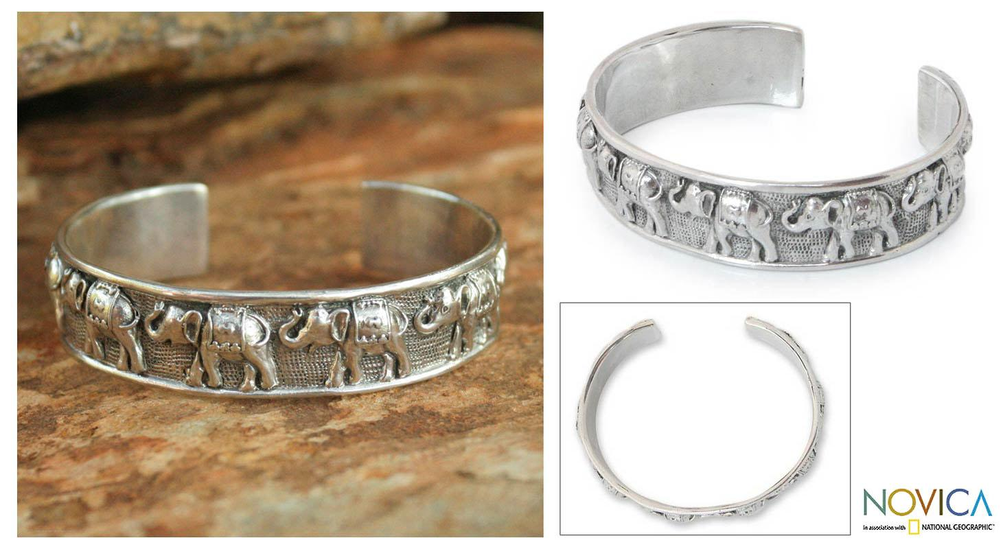 Sterling Silver 'Lucky Elephants' Cuff Bracelet (Thailand)