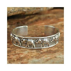 Sterling Silver 'Lucky Elephants' Cuff Bracelet (Thailand)