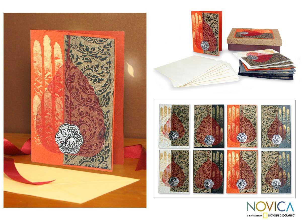 Set of 8 Saa Paper 'Six Candles' Greeting Cards (Thailand)