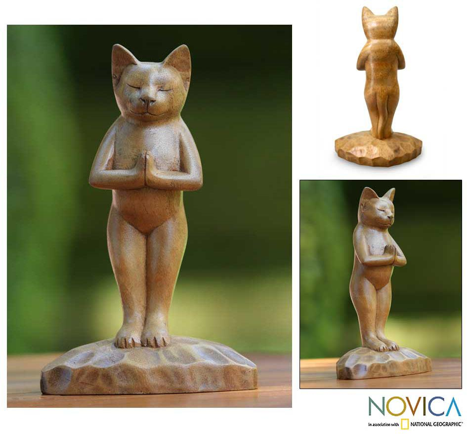 Suar Wood 'Cat Gives Thanks' Sculpture (Indonesia)